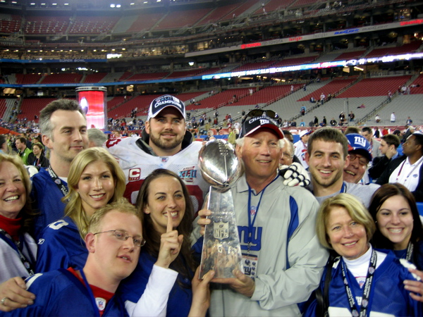 O'Hara Family Holds The Lombardi Trophy